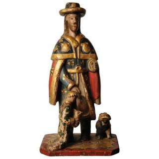 Sculpture of St Roch, Spanish circa 1800
