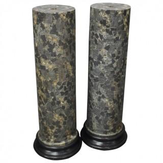 Pair of Italian Scagiola Pedestals / Columns