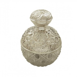 Antique Edwardian Sterling Silver & Cut Glass Perfume / Scent Bottle 1905