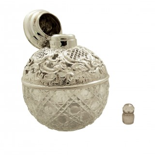 Antique Edwardian Sterling Silver & Cut Glass Perfume / Scent Bottle 1905