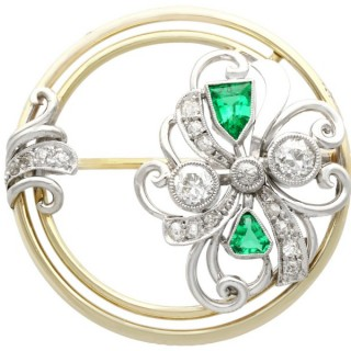0.66 ct Diamond and 0.59 ct Emerald, 14 ct Yellow Gold Brooch - Art Deco - Antique Circa 1930
