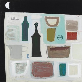 'Two Green Bottles' Abstract Still Life by Scottish Artist Simon Laurie