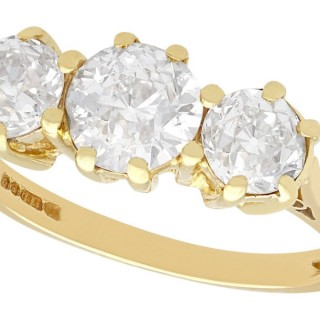 1.75ct Diamond and 18ct Yellow Gold Trilogy Ring - Vintage 1977