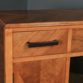 Antique English Art Deco Ruhlmann Style Figured Walnut & Macassar Ebony Office Pedestal Desk (Circa 1940)