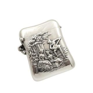Antique Victorian Sterling Silver Vesta 1899  -  The Music Lesson