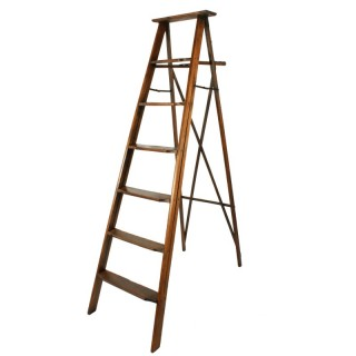 Edwardian Oak Library Ladders