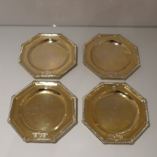 Victorian Sterling Silver Gilt Set Four Octagonal Plates London 1848 Daniel & Charles Houle