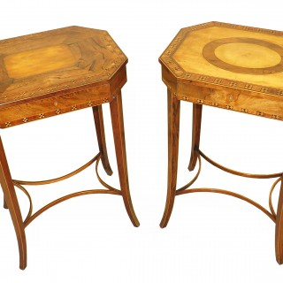 Fine Pair Of 18th Century Sheraton Period Georgian Work Tables