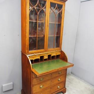 George III Inlaid Mahogany Cylinder Cabinet Bookcase
