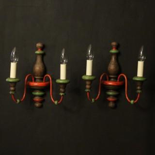 Italian Pair Of Polychrome Twin Arm Wall Lights