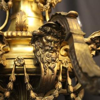 French Gilded Bronze 8 Light Antique Chandelier