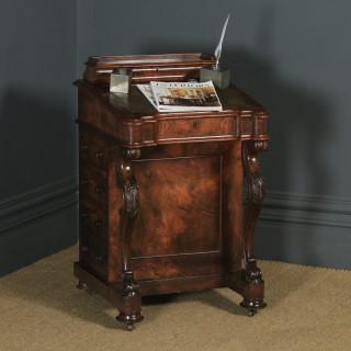 Antique English Victorian Burr Walnut Davenport Writing Desk (Circa 1860)