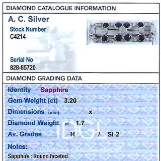 3.20ct Sapphire and 1.70ct Diamond, 15ct White Gold Brooch - Art Deco - Antique Circa 1920