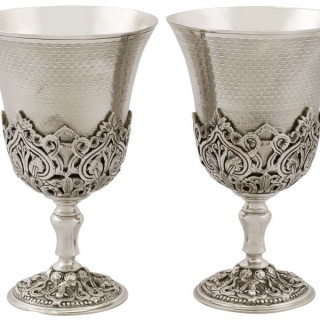 Turkish Silver Goblets - Antique Circa 1880