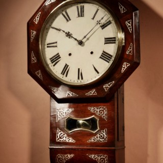 An Interesting Drop Dial American Wall Clock, Second Half 19th century.