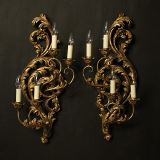 Florentine Silver Giltwood Antique Wall Lights