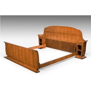 Early 20th Century Art Deco Birchwood Bed