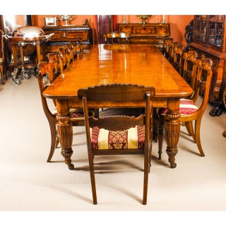 Antique Pollard Oak Victorian Extending Dining Table 19th C & 12 Chairs