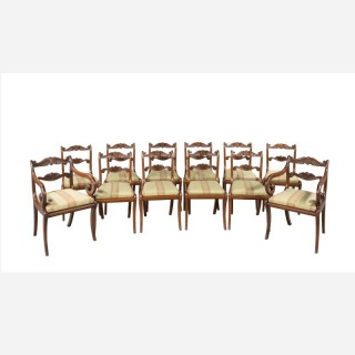 Set of Twelve (ten plus two) Regency Period Mahogany Dining Chairs