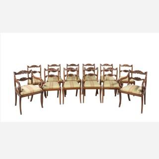 Set of Twelve (ten plus two) Regency Period Mahogany Dining Chairs