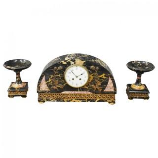 Art Deco Marble Clock Garniture
