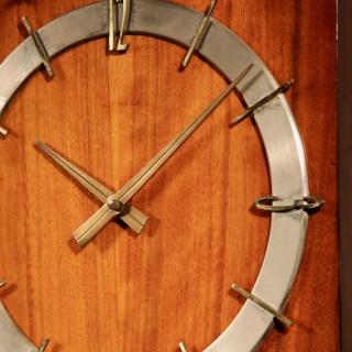 A 1960s Style Kienzle Walnut Brass Wall Clock.