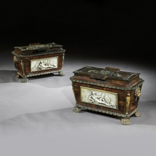 Extremely Rare Pair Of Regency Cast-Iron Sarcophagus Shaped Strong Boxes