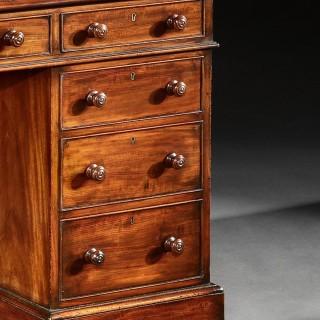 A Fine Honduras Mahogany 19Th Century Pedestal Desk.