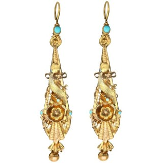 0.45ct Turquoise and 18 ct Yellow Gold Earrings - Antique Circa 1820