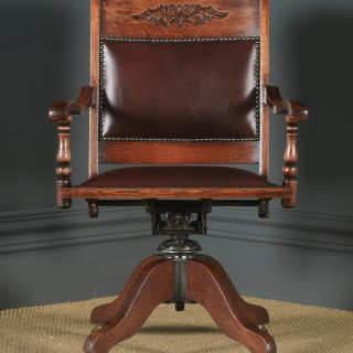 Antique English Edwardian Aesthetic Oak & Red Leather Revolving Office Desk Arm Chair (Circa 1910)