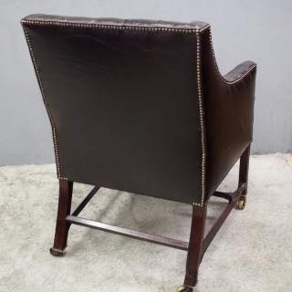George III Mahogany and Leather Library Chair