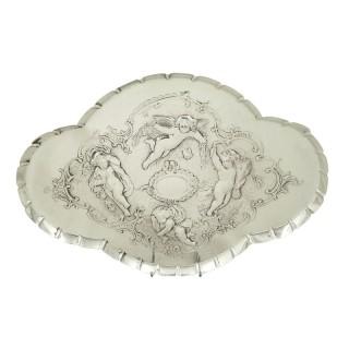 Antique Edwardian Sterling Silver 'Cherub' Dressing Tray 1902