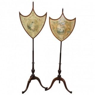 Pair of Late George III Mahogany Pole Screens