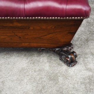 George IV Rosewood and Leather Ottoman