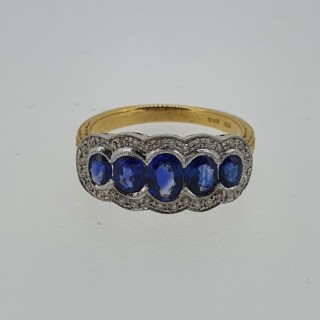 18ct Sapphire & Diamond boat shaped ring