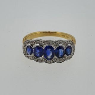 18ct Sapphire & Diamond boat shaped ring