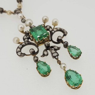 Art Nouveau Columbian Emerald, Natural Seed Pearl and Old Cut Diamond pendant with original Diamond & Pearl chain