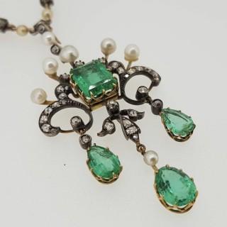Art Nouveau Columbian Emerald, Natural Seed Pearl and Old Cut Diamond pendant with original Diamond & Pearl chain