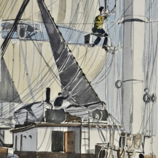 Claude Muncaster - On Board Favell - watercolour