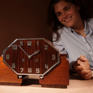 A Fantastic Amsterdam School Art Deco Special Design Coromandel/Macassar Ebony and Oak Mantel Clock.