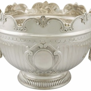 Large Sterling Silver Monteith Style Bowl by Edward Barnard & Sons Ltd - Antique Edwardian (1902)