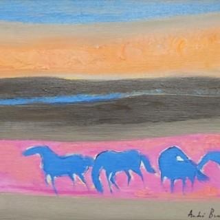 Les chevaux bleus  by  André Brasilier (b.1929)