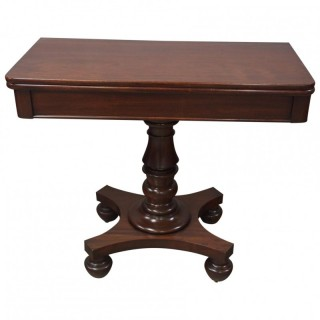 William IV Plum Pudding Mahogany Foldover Tea Table