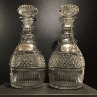 Pair Large Irish Decanters