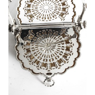 Antique Victorian Silver Plated Shell Folding Biscuit Box 19thC 1880