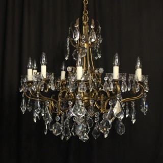 Italian 10 Light Gilded & Crystal Chandelier