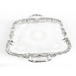 Antique Large Victorian Silver Plated Service Tray Walker & Hall 19th C