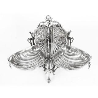 Antique Silver Plate Triple Shell Shaped Sweets Biscuit Box c.1870