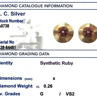 0.26 ct Diamond and Synthetic Ruby, 18 ct Yellow Gold Stud Earrings - Vintage Circa 1940