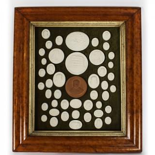 Antique Arrangement 46 Grand Tour Historical Intaglios Maple Frame 19th C